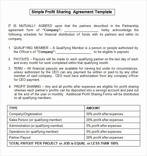 Profit Sharing Plan Template Fresh Sample Profit Sharing Agreement 10 Free Documents In