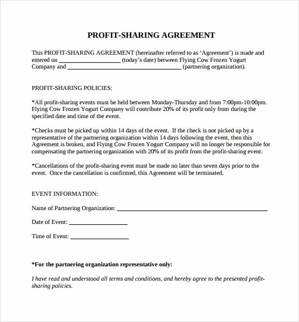 Profit Sharing Plan Template Lovely 11 Sample Profit Sharing Agreements