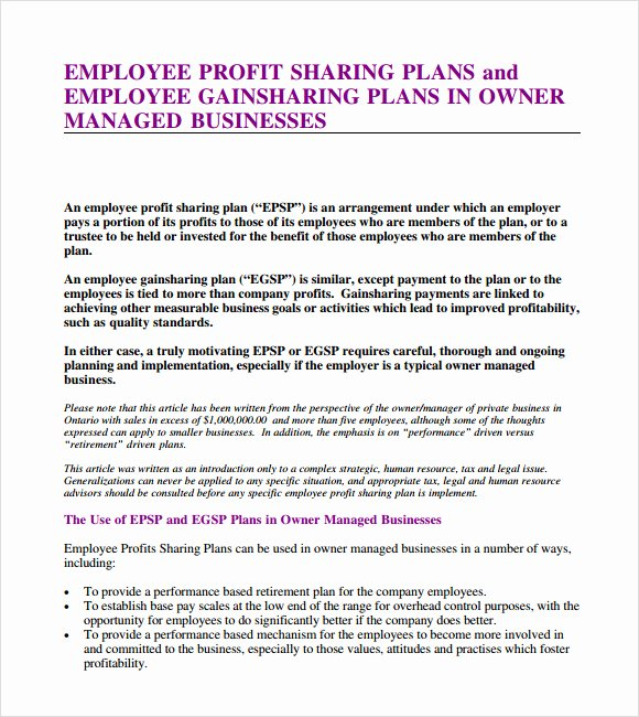 Profit Sharing Plan Template Lovely Profit Sharing Agreement – 7 Free Samples Examples