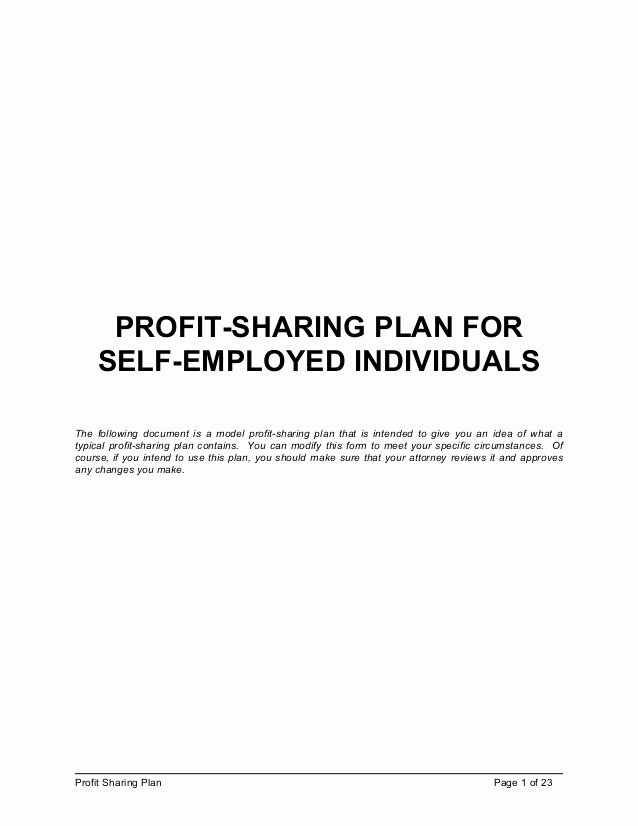 Profit Sharing Plan Template Lovely Profit Sharing Plan Template