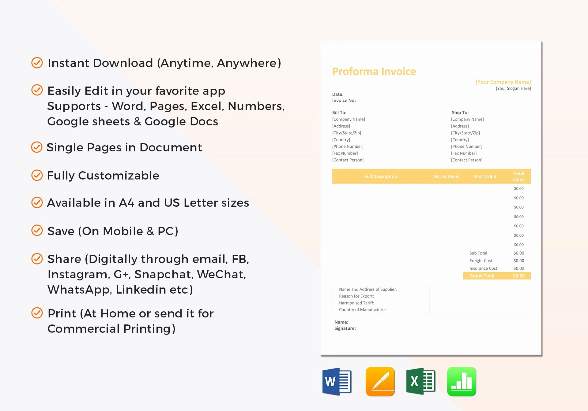 Proforma Invoice Template Excel Awesome Proforma Invoice Template In Word Excel Apple Pages Numbers