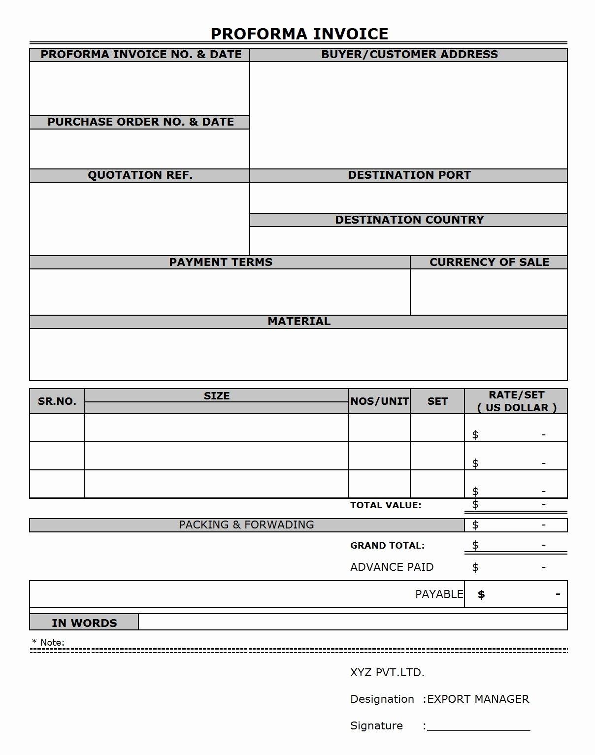 Proforma Invoice Template Excel Elegant Proforma Invoice Sample Excel Invoice Template Ideas