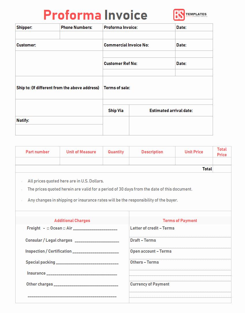Proforma Invoice Template Excel Luxury Proforma Invoice Template for Excel Free Excel