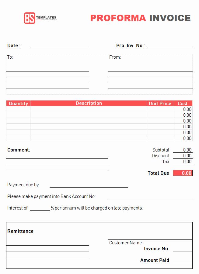 Proforma Invoice Template Excel New Proforma Invoice Template for Excel Free Excel