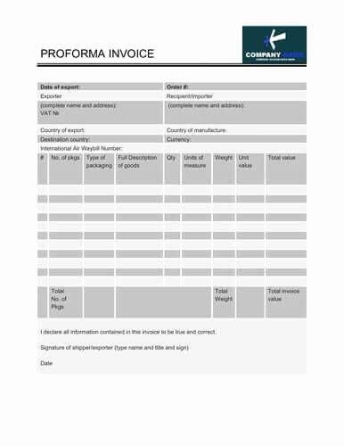 Proforma Invoice Template Excel Unique Free Proforma Invoice Templates [8 Examples Word Excel]