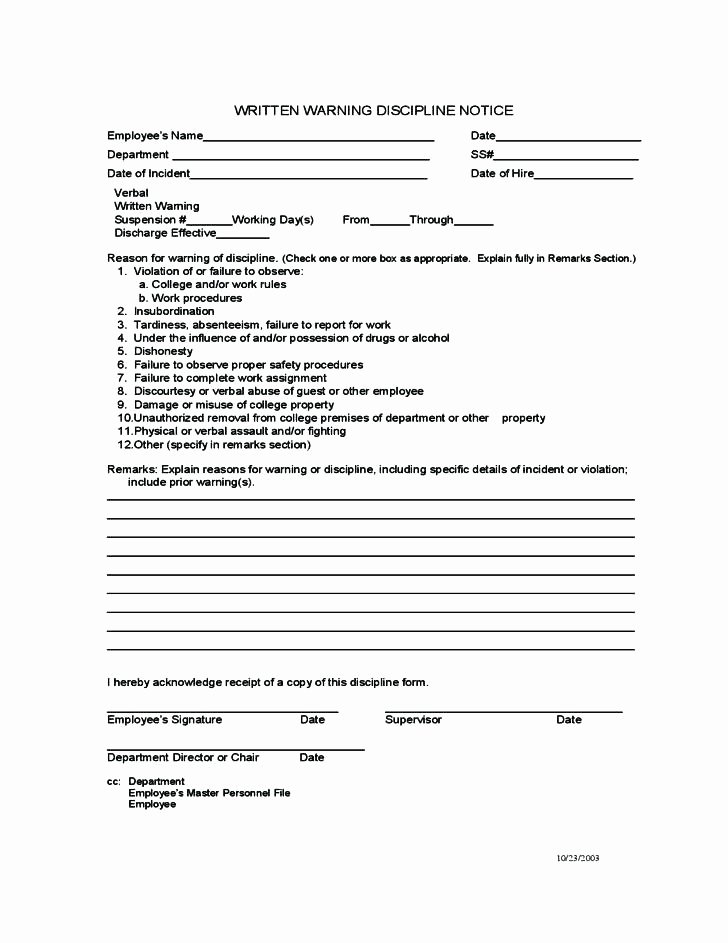 Progressive Discipline form Template Awesome Affirmative Action Policy Template Disciplinary Image