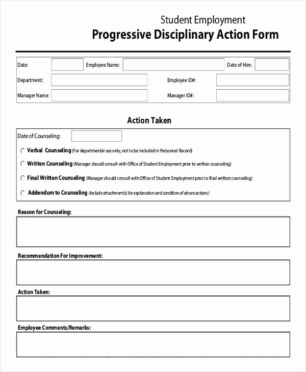 Progressive Discipline form Template Awesome Employee Disciplinary Action Template Employee Write Up