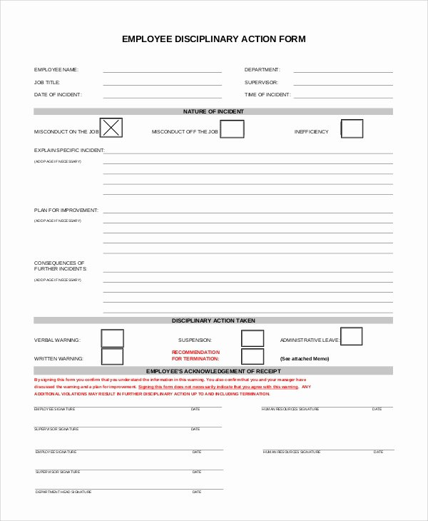 Progressive Discipline form Template Lovely Sample Employee Discipline form 10 Examples In Pdf Word