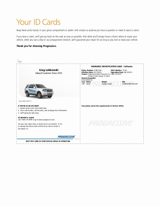Progressive Insurance Card Template Beautiful Insurance Pany Auto Insurance Template