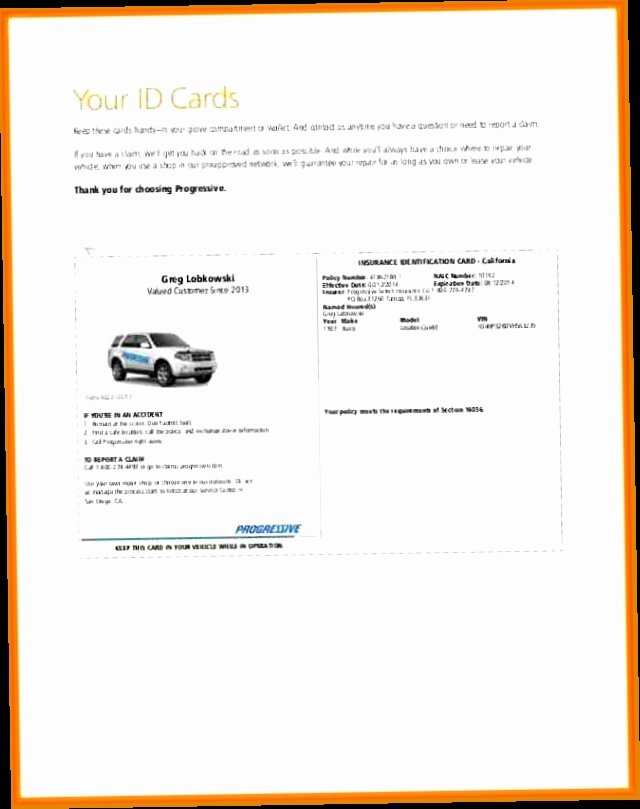 Progressive Insurance Card Template Lovely Auto Insurance Cards Pdf 5 Exciting Parts attending