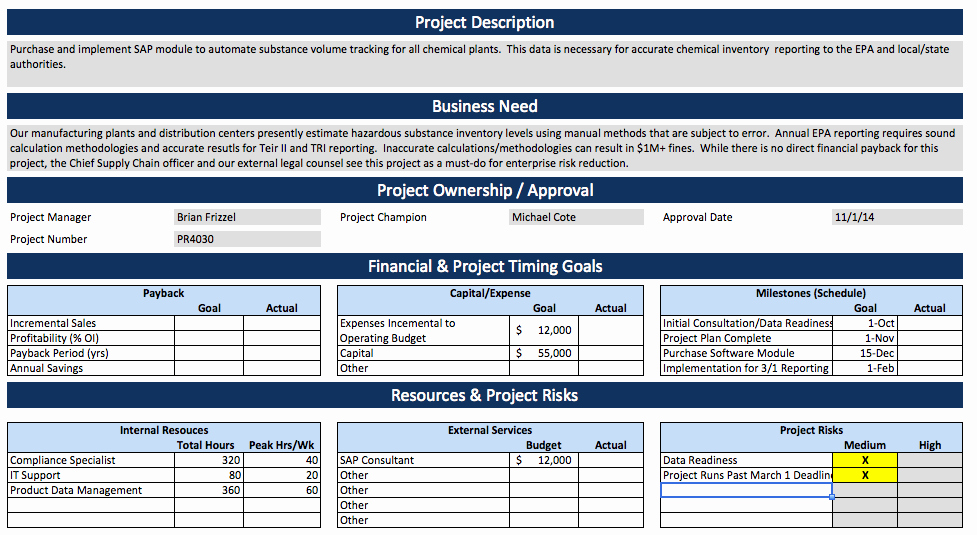Project Charter Template Excel Elegant Project Charter Example – software Implementation