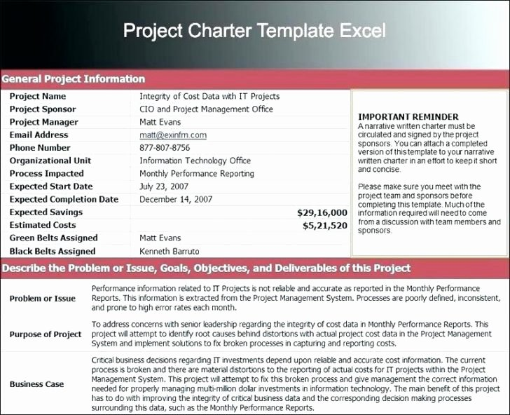 Project Charter Template Excel Lovely Project Charter Example software Implementation Project