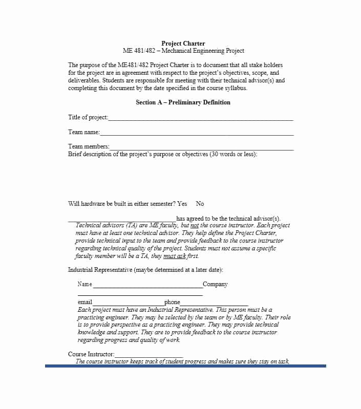 Project Charter Template Excel Luxury 40 Project Charter Templates & Samples [excel Word