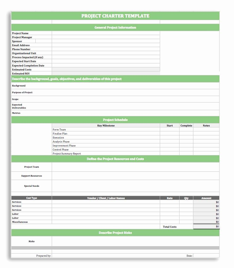 Project Charter Template Excel Luxury Project Charter Template