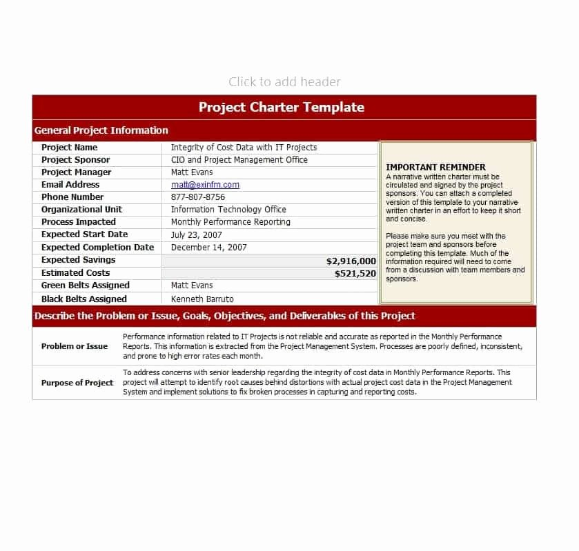 Project Charter Template Free Awesome 40 Project Charter Templates & Samples [excel Word
