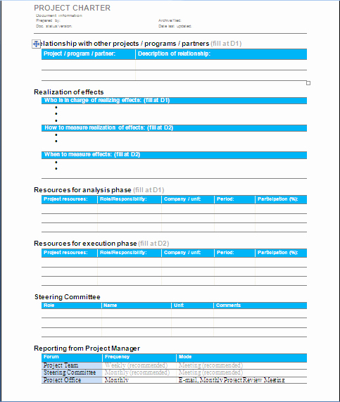 Project Charter Template Free Beautiful Project Charter Template