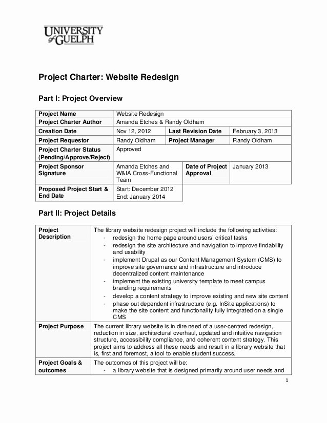 Project Charter Template Free Best Of 2013 Website Redesign Project Charter Final