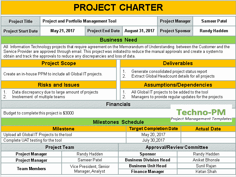 Project Charter Template Free Elegant Project Charter Template Ppt Download Project Management