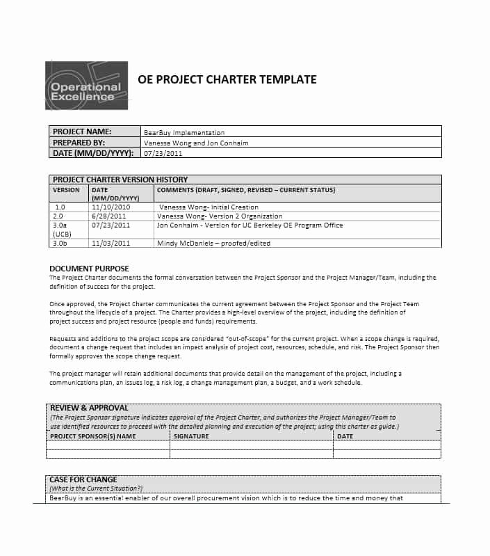 Project Charter Template Free Luxury Project Management Charter Papel Lenguasalacarta