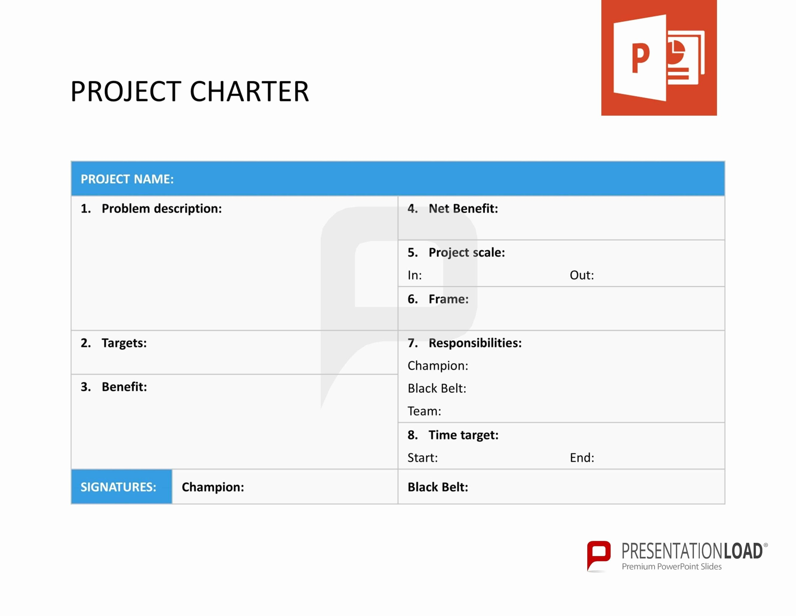 Project Charter Template Ppt Fresh Project Charter Six Sigma – Powerpoint Templates