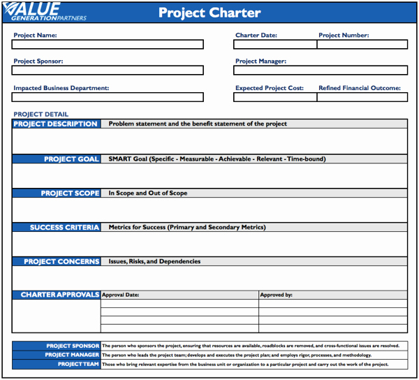 Project Charter Template Word Best Of Reporting – Value Generation Partners Vblog
