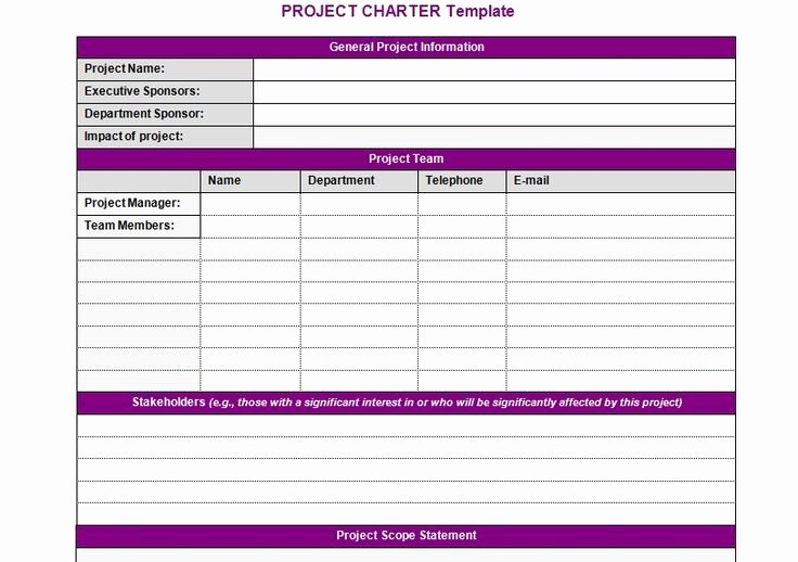 Project Charter Template Word Elegant Project Charter Template Projectemplates