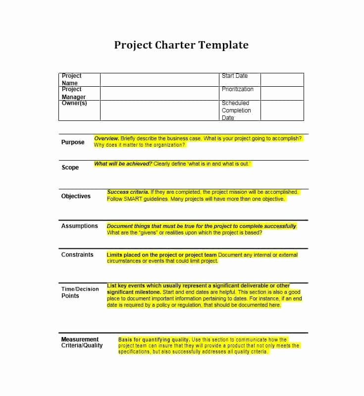 Project Charter Template Word Fresh 40 Project Charter Templates & Samples [excel Word