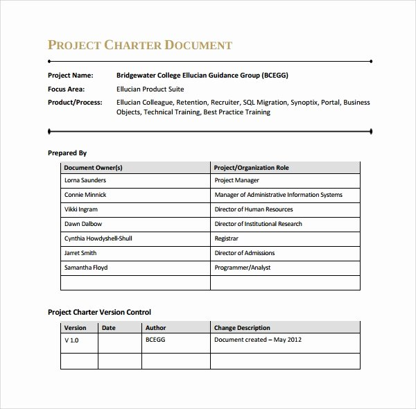 Project Charter Template Word Fresh Sample Project Charter Template 8 Free Documents