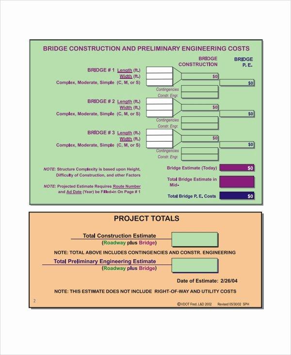 Project Cost Estimate Template Best Of 8 Project Estimate Templates