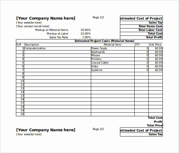 Project Cost Estimate Template Lovely 26 Blank Estimate Templates Pdf Doc Excel Odt