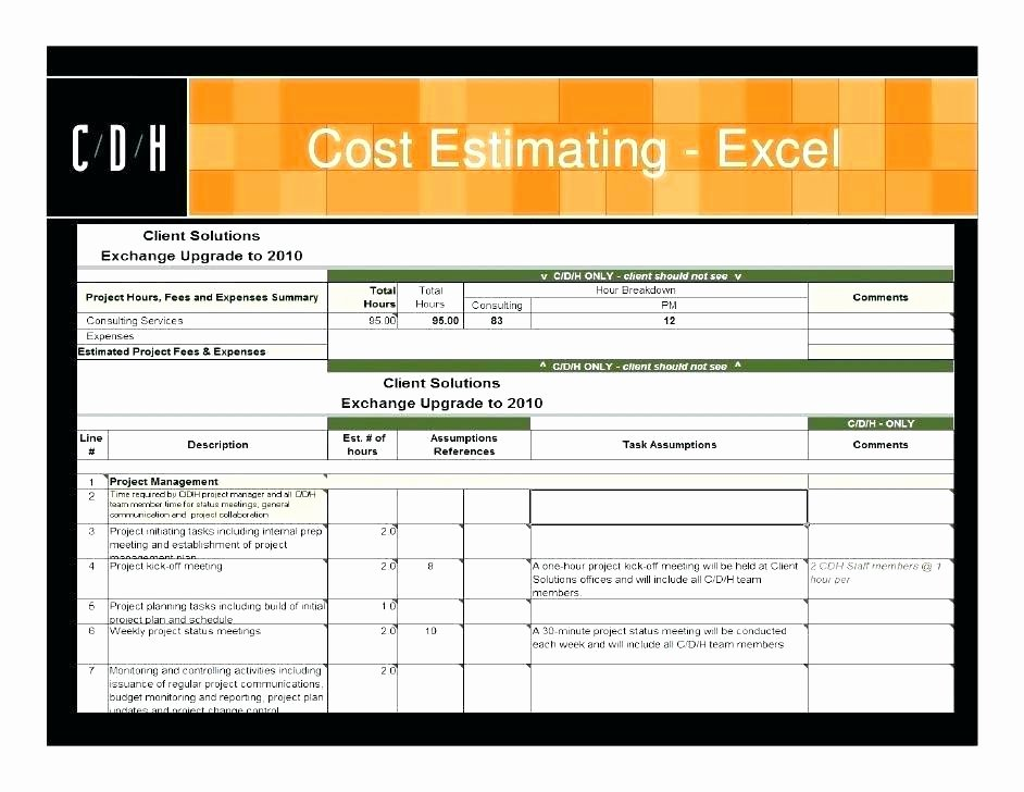 Project Cost Estimate Template Unique Project Estimation Excel Template – 101juegosub