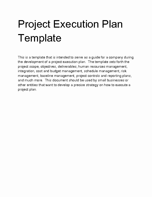Project Execution Plan Template Best Of Wel E to Docs 4 Sale