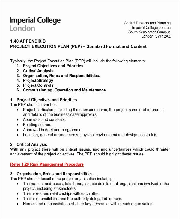 Project Execution Plan Template Fresh 33 Sample Plan Templates