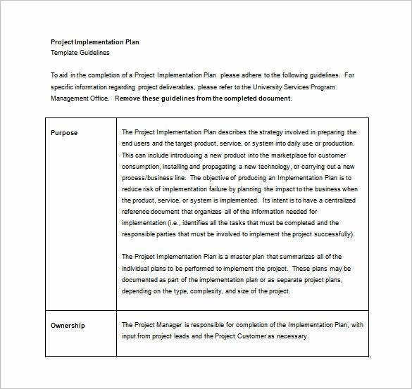 Project Implementation Plan Template New 12 Implementation Plan Templates – Free Sample Example