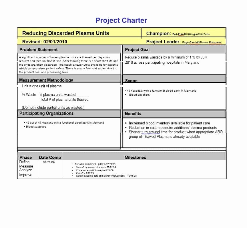 Project Management Charter Template Elegant 40 Project Charter Templates & Samples [excel Word