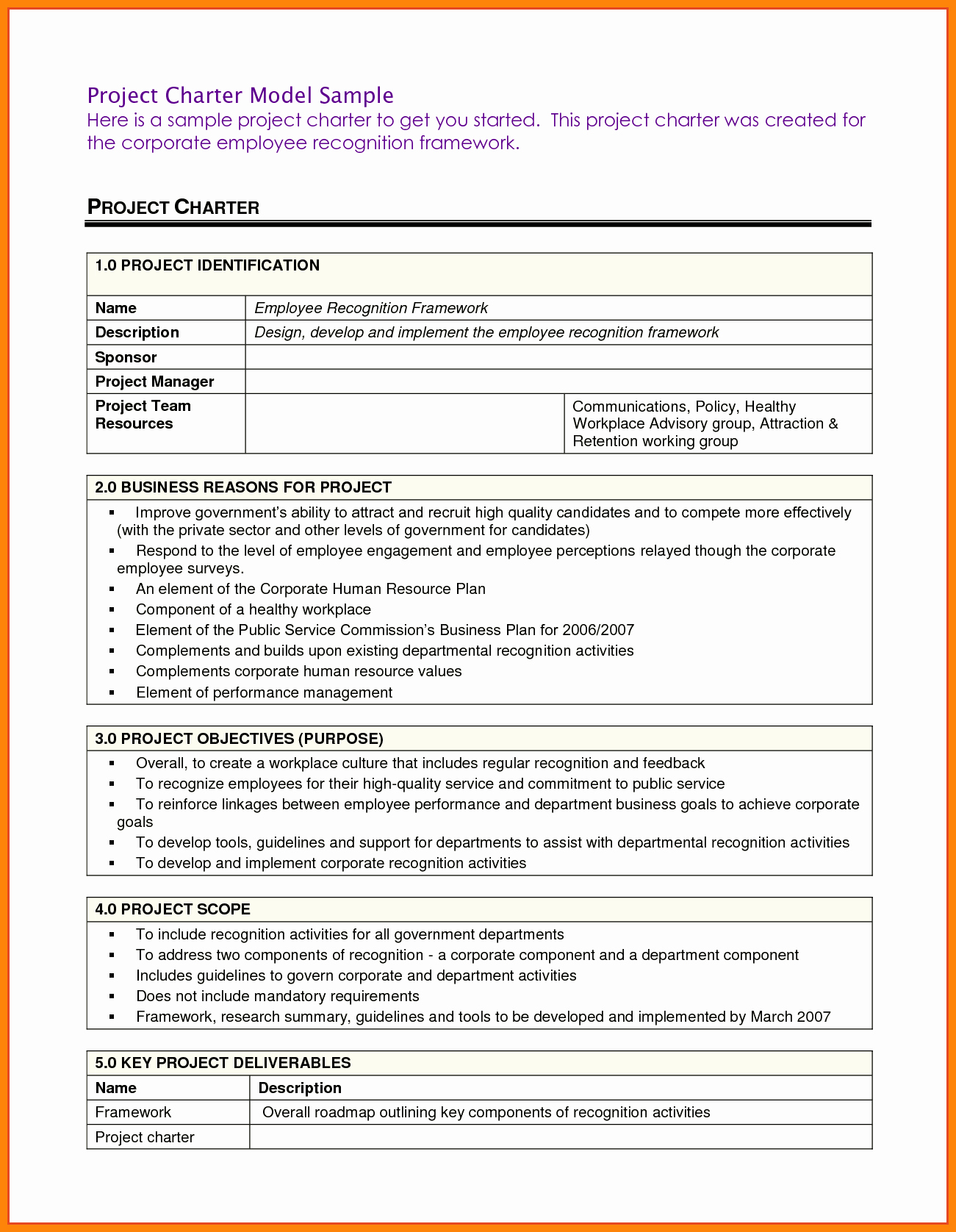 Project Management Charter Template Unique Project Charter Template Pdf Ppt Free