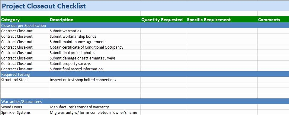 Project Management Checklist Template Unique Free Construction Project Management Templates In Excel