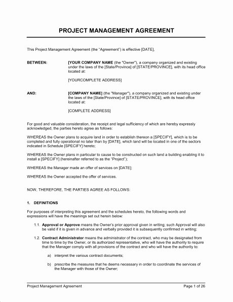 Project Management Contract Template Beautiful Contract Project Manager