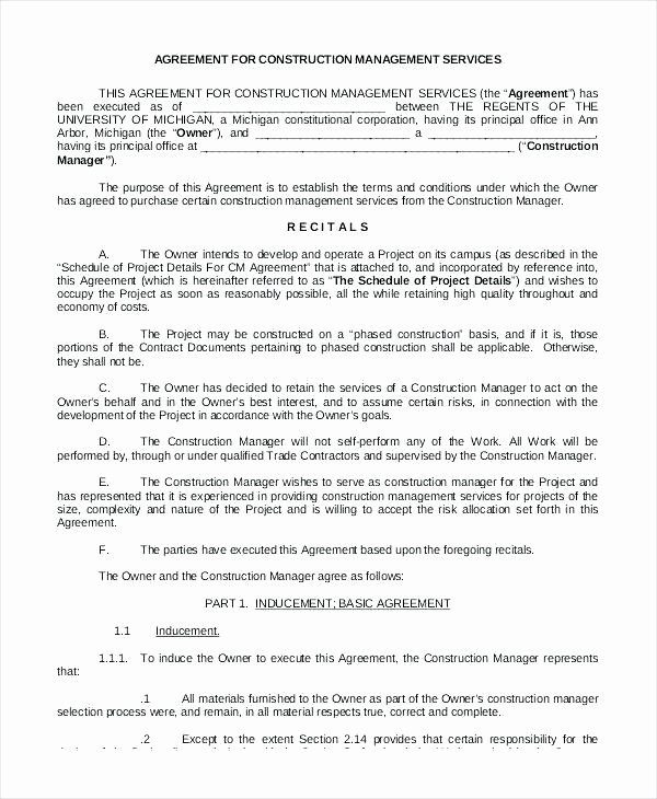 Project Management Contract Template Best Of Project Management Agreement Template Construction Medium