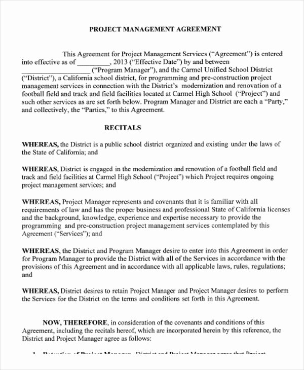 Project Management Contract Template Elegant 9 Management Agreement Templates Free Sample Example