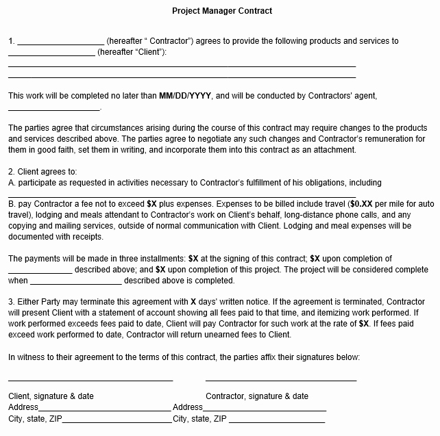 project manager contract