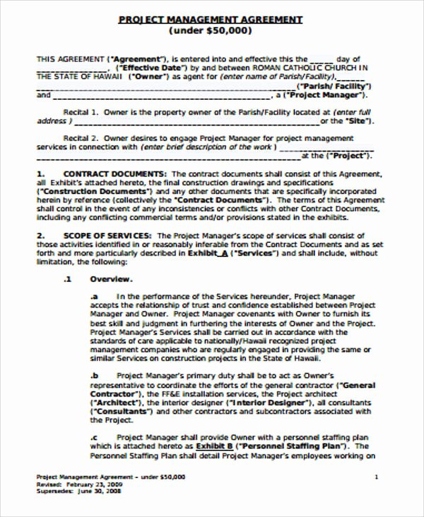 Project Management Contract Template Fresh 6 Sample Management Consulting Agreements