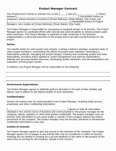 Project Management Contract Template Inspirational 32 Sample Contract Templates In Microsoft Word