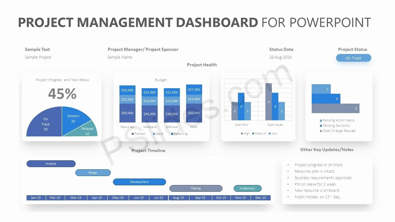 Project Management Powerpoint Template Elegant Project Management Dashboard for Powerpoint Pslides