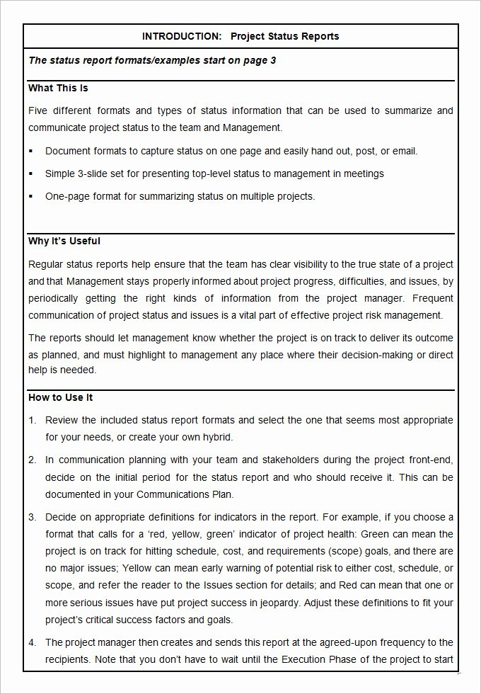 Project Management Report Template Luxury Sample Project Status Report Template 10 Free Word Pdf
