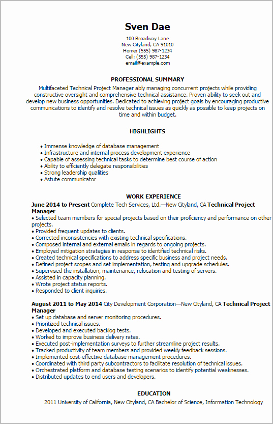 Project Manager Resume Template Inspirational 1 Technical Project Manager Resume Templates Try them