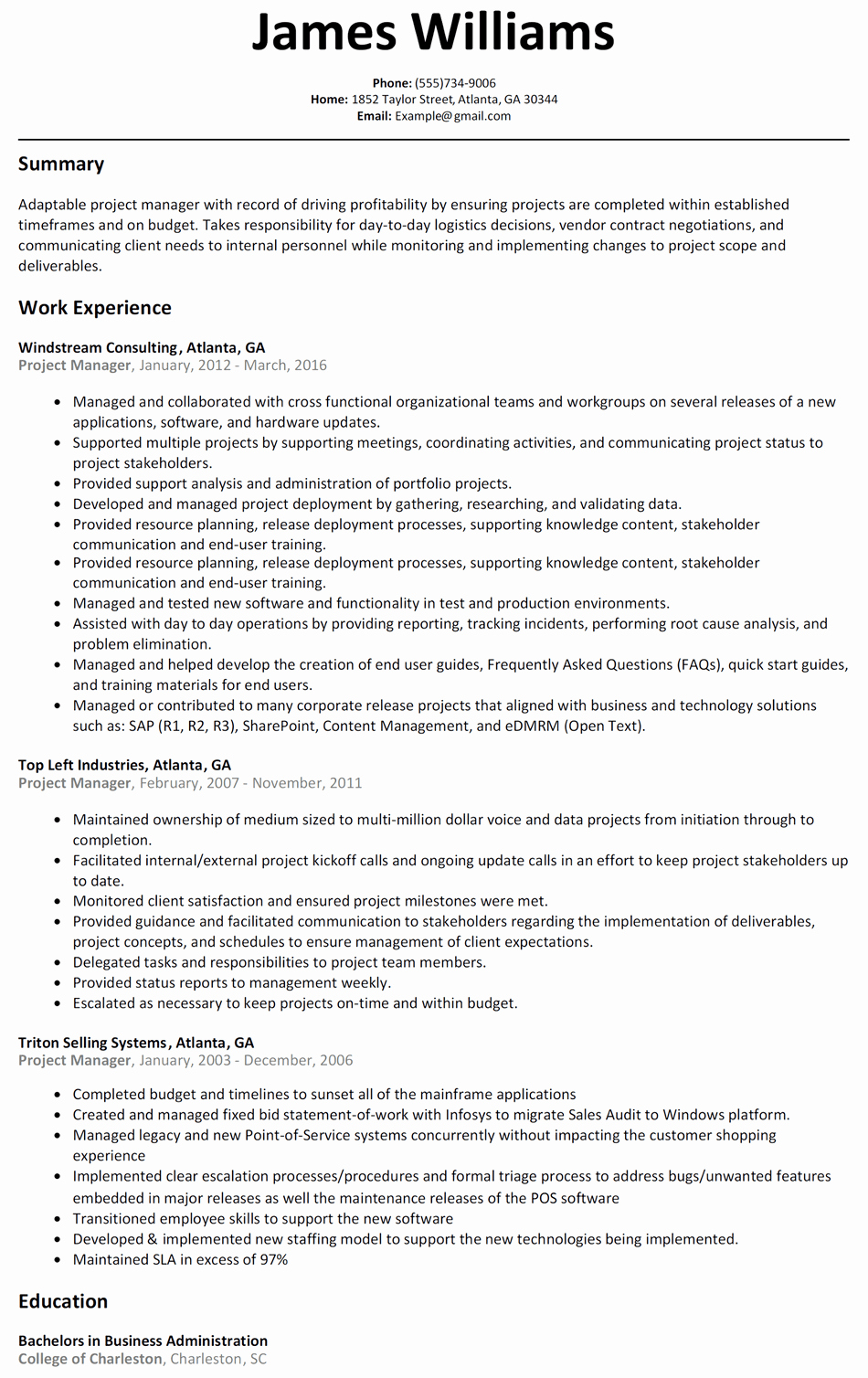 Project Manager Resume Template Inspirational Project Manager Resume Sample Resumelift