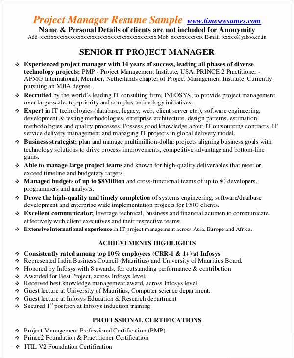 Project Manager Resume Template New Project Management Resume Example 10 Free Word Pdf
