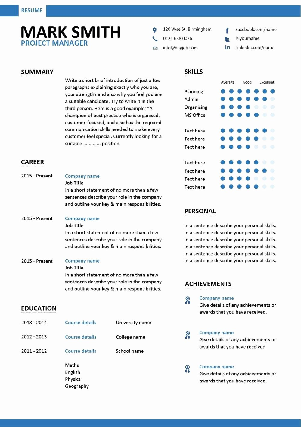 Project Manager Resume Template New Project Manager Cv Template Construction Project