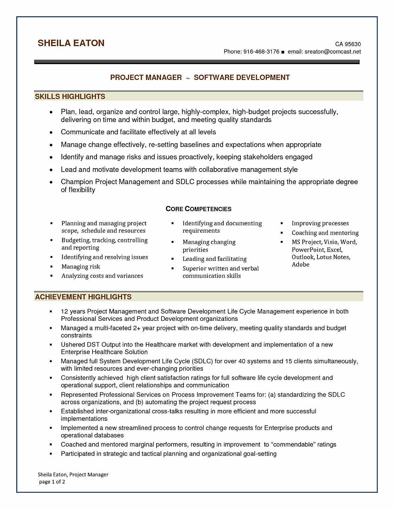 Project Manager Resume Template New software Project Manager Resume